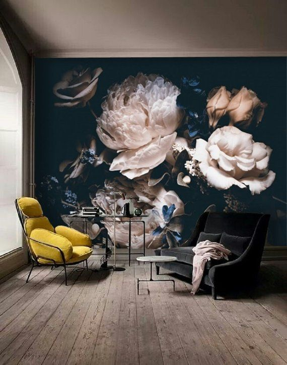 Peel and Stick Wallpaper Floral, Large Floral Wallpaper, Dark Floral Wallpaper Mural, Floral Mural Removable Peony Wall Paper Removable #132