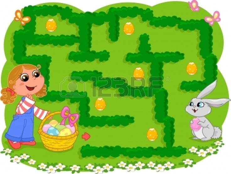 Game for little children  How many Easter eggs can the girl collect before going to the bunny  Illustration