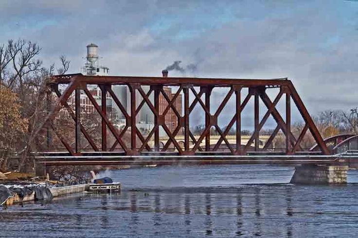 Railroad bridge with Peterborough, Ontario in the background