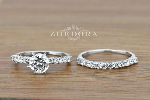 Zhedora 3.0 CT Engagement Bridal Ring band set Round by Zhedora