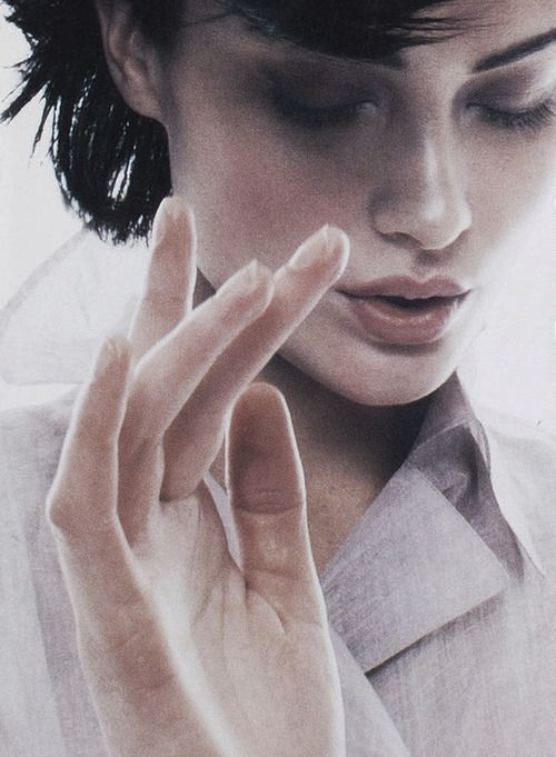 Shalom Harlow photographed by Craig McDean for the Jil Sander Spring 1995 lookbook.