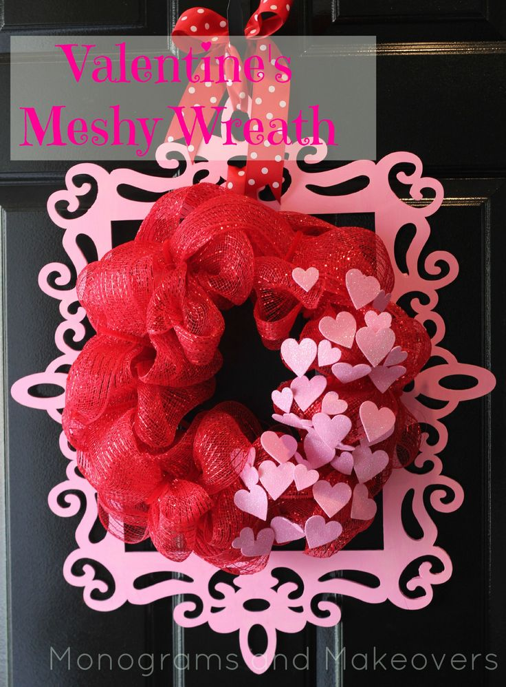 Valentine's Wreath  unfinished painted frame, mesh and foam hearts