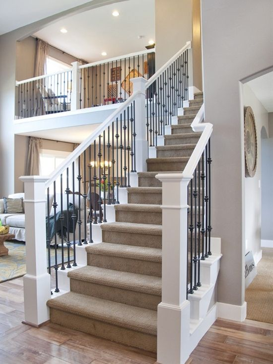 wrought iron railing interesting with white