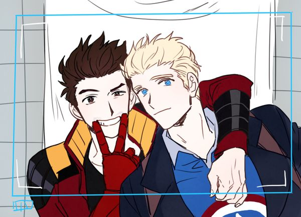 By @4577p on Twitter- Steve x Tony based off the new game Avengers Academy.... I WISH I COULD MAKE THEM DATE IN THE GAME! LOL