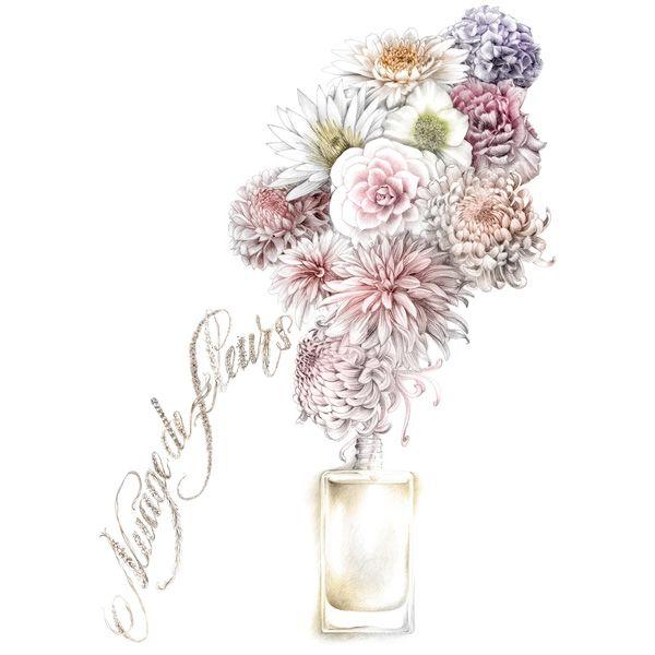 illustration parfum bouquet fleurs Florence Gendre http://florence-gendre-illustration.com/