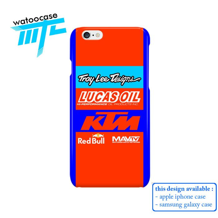 Troy Lee Design KTM Lucas Oil Phone Case | Apple iPhone 4 4s 5 5s 5c 6 6s Plus Samsung Galaxy S3 S4 S5 S6 S7 EDGE Hard Case