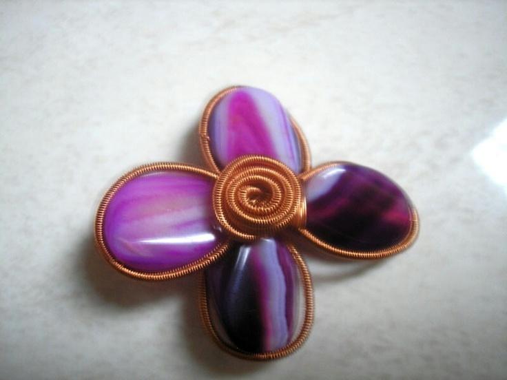 Purple Stone Simple Flower Wired Brooch