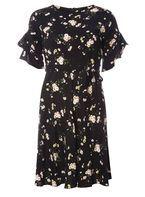 Womens Petite Black Ditsy Floral Print Tea Dress- Black