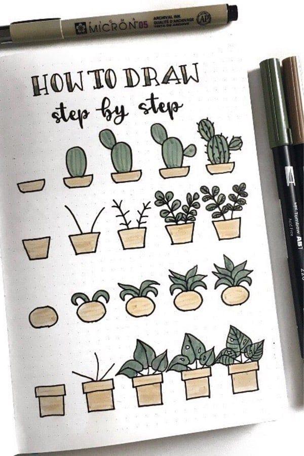 20 Beste Sukkulenten- & Kaktus-Doodle-Ideen für Bujo-Süchtige