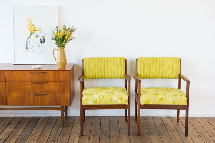 Pair of restored mid-century carver chairs featuring Kangaroo Paw & Buds in Fennel on Avocado 100% hemp.  www.inkandspindle.com.au