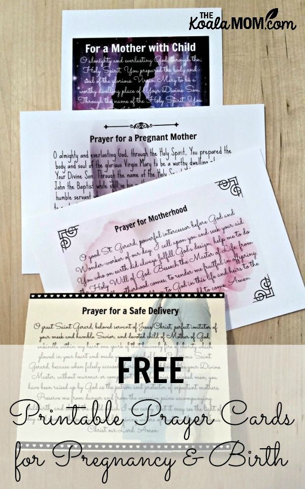 A set of free printable prayer cards for pregnancy and birth, including posters and greeting cards, with prayers to St. Gerard Majella, St. Anne and more!