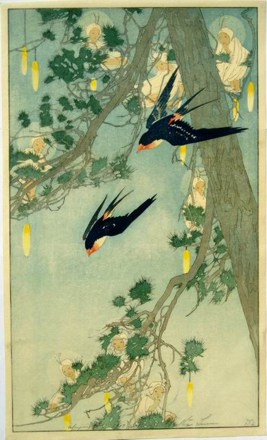 Bertha Lum woodblock print | 'Land of the Bluebird' (1916)