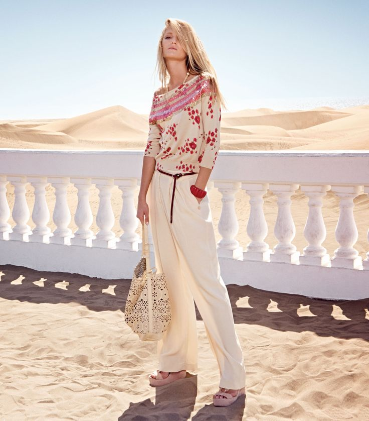 TWIN-SET Simona Barbieri: Printed sweater, wide trousers, necklace, belt, bracelet, satchel bag with perforations and wedge sandal