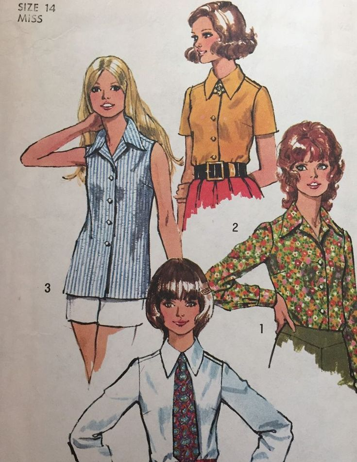 Simplicity Sewing Pattern 5022 Blouse 4 Styles 1970's look Collar Size 14 Uncut  #Simplicity