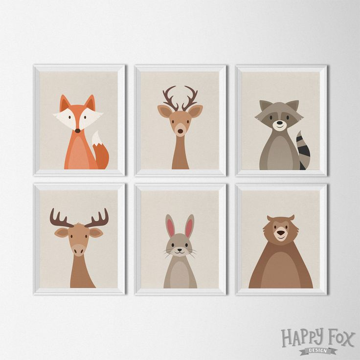 Woodland Animal set, art printables, nursery Decor, fox bear raccoon deer animal…