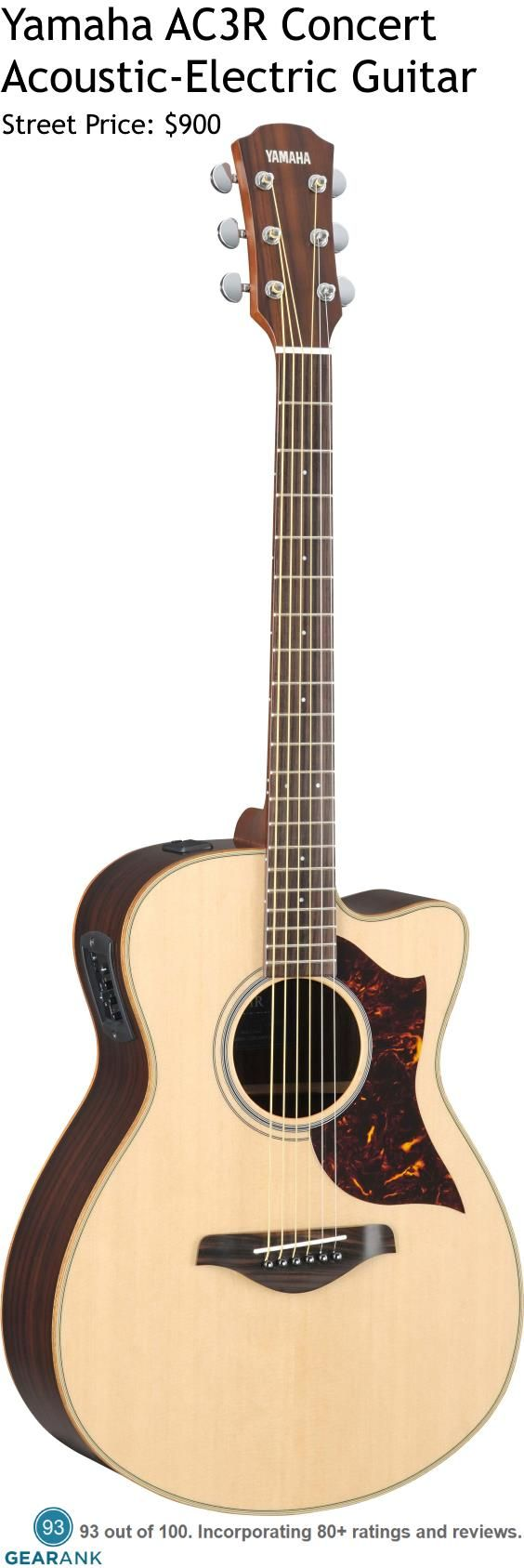 Yamaha AC3R Concert Acoustic-Electric Guitar. Yamaha's AC3R is one of their highest rated guitars and comes with an all solid wood concert sized body and Yamaha's premium System 63 SRT pickup and modelling preamp -the modelling options are designed to represent different microphone sounds. For a detailed guide to acoustic guitars see https://www.gearank.com/guides/acoustic-guitars