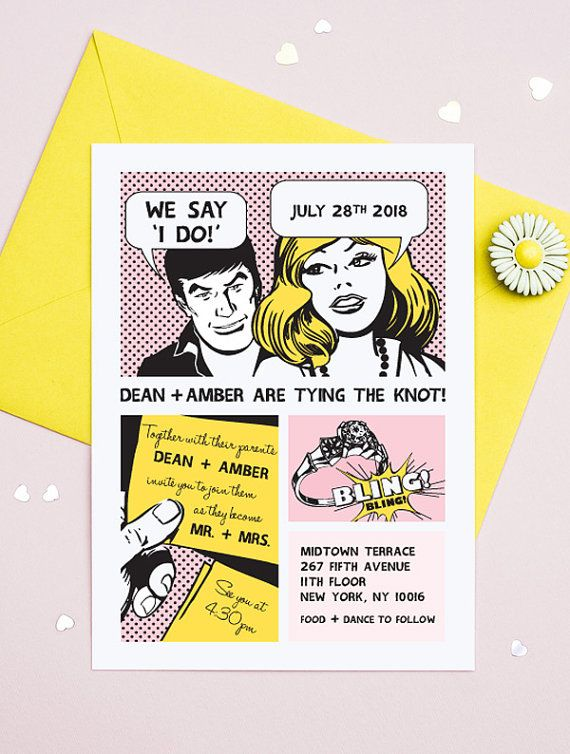 """A fun and unusual wedding invitation inspired by retro comic strips. Perfect for a casual yet still modern affair. This listing is for a single printable wedding invitation design, in a digital PDF template.  WHAT YOU GET 1 Letter or A4 sized PDF file featuring two 5x7"""" invitations with trim marks.  THE PROCESS After you have made your purchase, please provide the following details in the Note to Seller section.  NAME: DATE: TIME: EVENT LOCATION: COLOURS: PAPER SIZE OPTION: US Letter or A4…"""