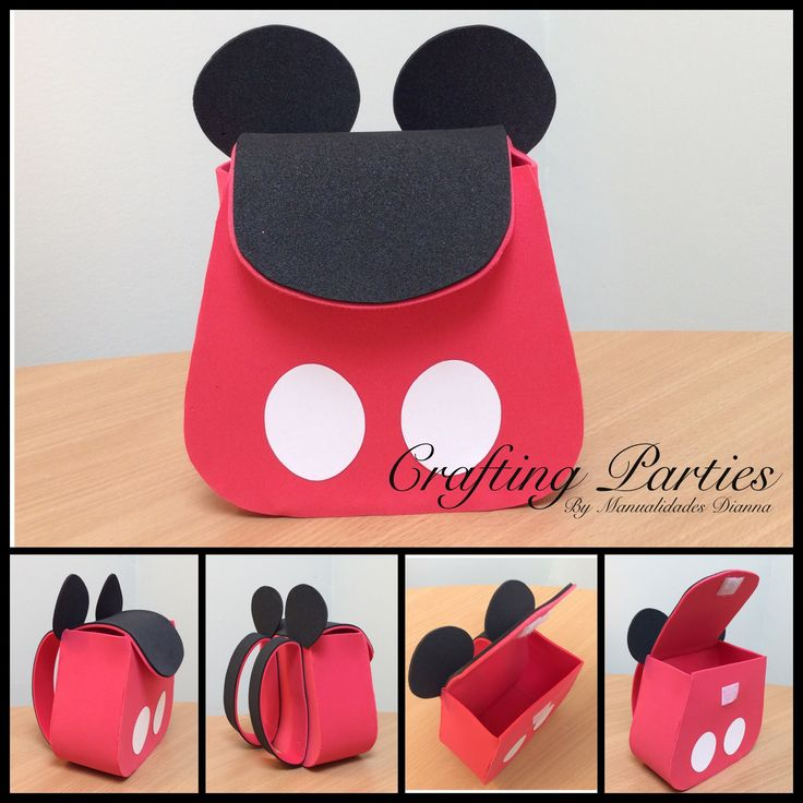 Mickey Mouse goodie bag. Handmade out of craft EVA Foam.  For ordering information please email diannacraftingparties@yahoo.com you can also follow me on IG @craftingparties #mickeymouse