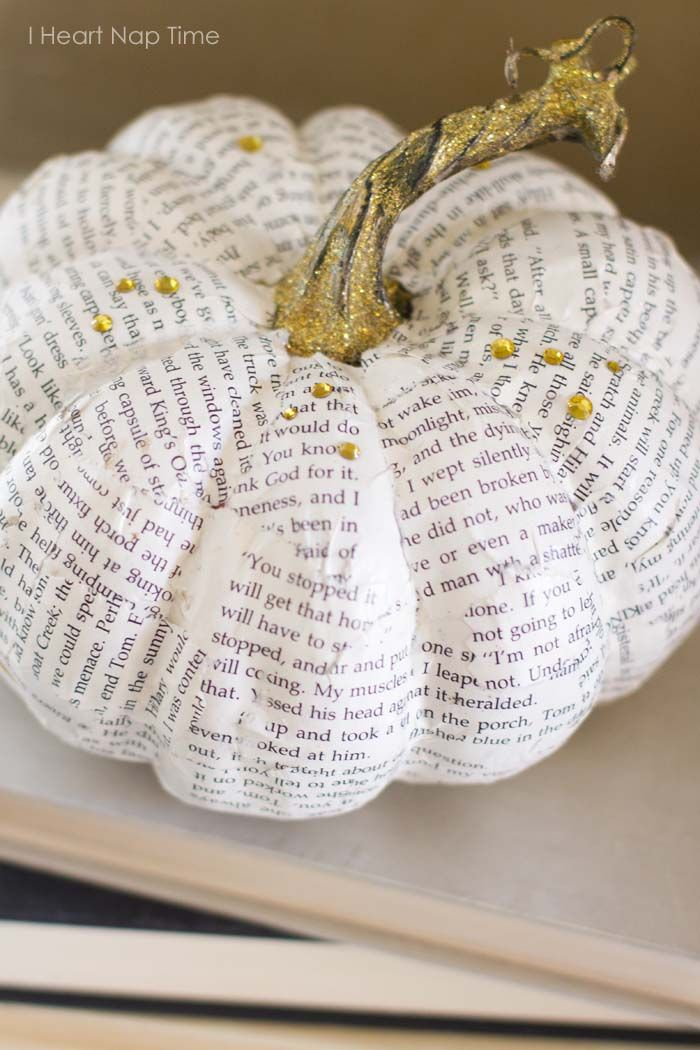 DIY book page pumpkin and glittered acorns on iheartnaptime.net