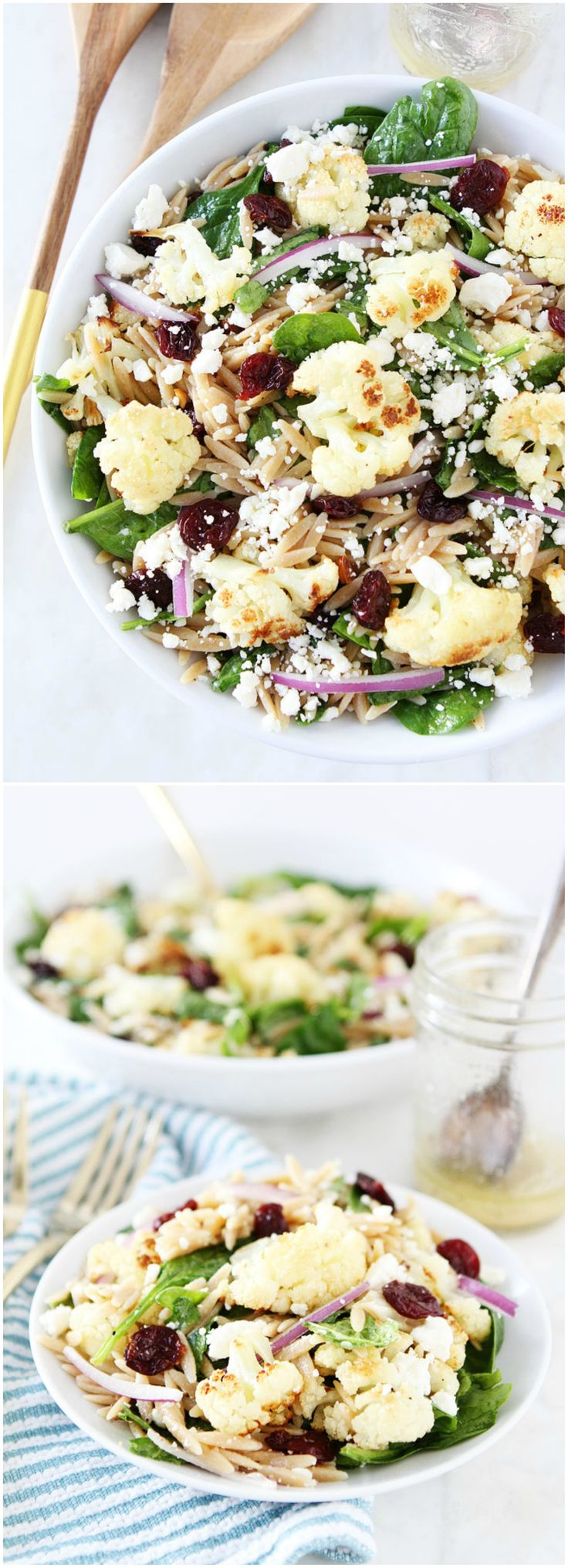 Roasted Cauliflower, Feta, and Orzo Salad Recipe on twopeasandtheirpod.com This spinach salad is loaded with roasted cauliflower, whole wheat orzo, dried cherries, and feta. It is a great salad for lunch or dinner!