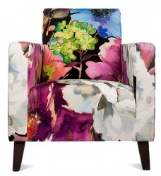 Contemporary Style Armchair in Floral Fabric