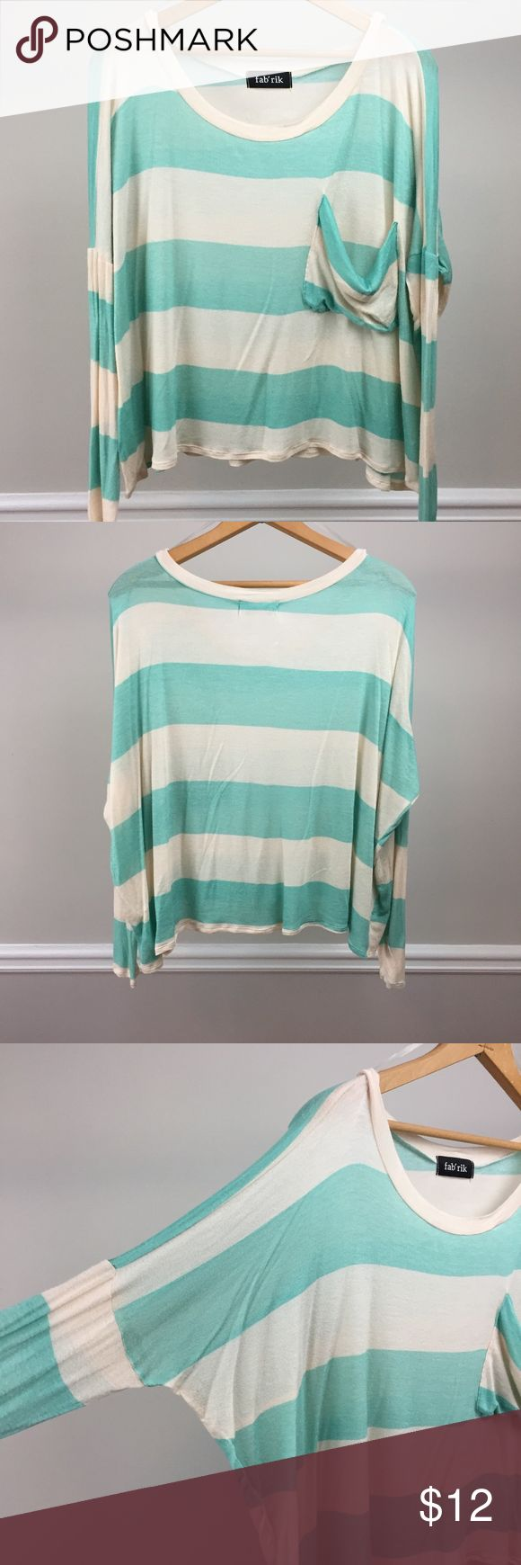 """Fab'rik Cropped Slouchy Top Mint and off-white, rayon and spandex, cropped, oversized, dropped-shoulder, lightweight tee.   Size M, flat-measures 58"""" at bust and is 18"""" in length. Fab'rik Tops"""