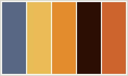 Chocolate brown, orange, beige and medium blue color scheme