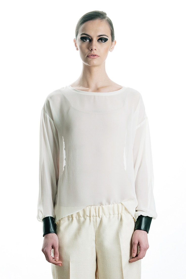 faux leather cuff blouse, spring / summer 2013  49€