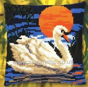 Buy Swan Sunset Cushion Front Chunky Cross Stitch Kit Online at www.sewandso.co.uk