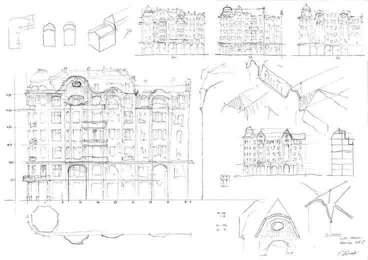 Initial sketch for a Contemporary Tenement House design competition - 2nd edition, organised by the City of Łódź (2017); drawn up by architect Piotr Kilanowski