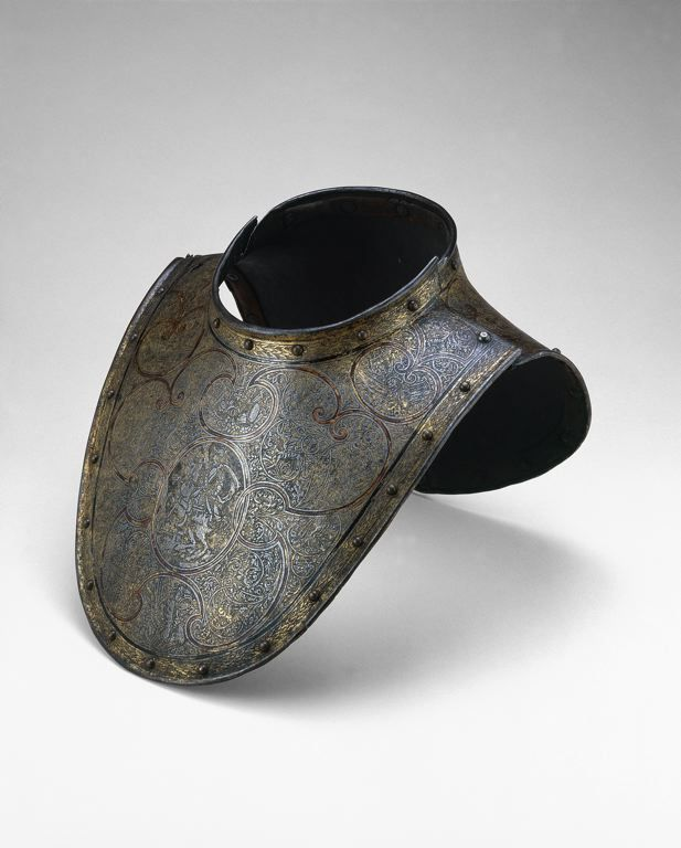 French    Gorget, c. 1600/10    Steel with gilding, brass, enamel, leather- Art Institute of Chicago