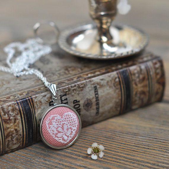 Valentines Heart Necklace Blush Pink Lace Heart Necklace Hand Embroidered Pendant Valentines Gift Unique Valentine Jewelry