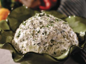 Green Goddess from the Melting Pot  Ingredients: 3/4 cup cubed softened cream cheese 1/2 cup milk 1/4 cup sour cream 1/4 cup finely chopped fresh parsley 1/4 cup finely chopped fresh chives 2 tablespoons minced white onion   Instructions: Whisk the cream cheese, milk, sour cream, parsley, chives and onion in a bowl until combined. You may also beat with an electric mixer or a hand-held mixer for 1 to 2 minutes. Chill, covered until serving time.