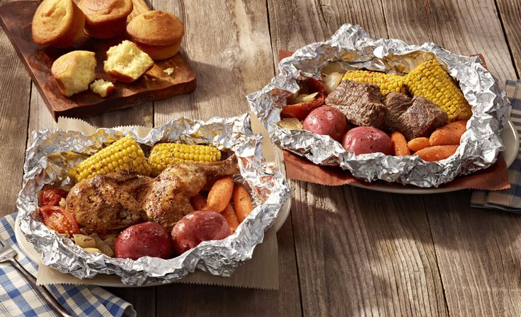 Cracker Barrel - Campfire Meals   Similar to what you might cook over a campfire, the meals feature either two-cuts of USDA Choice chuck roast or a half-chicken seasoned with Cracker Barrel's Campfire spice blend and slow-roasted in foil with corn on the cob, red skin potatoes, carrots, chopped onions, and tomato wedges. A choice of buttermilk biscuits or corn muffins comes on the side.