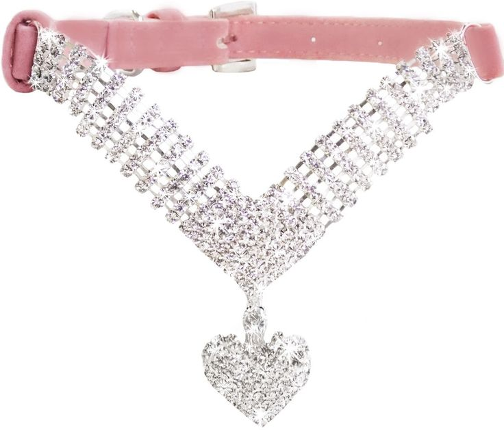 Small Pink Suede Leather Bling BIG LOVING HEART Diamond Collar for Dogs & Puppy  #Unbranded
