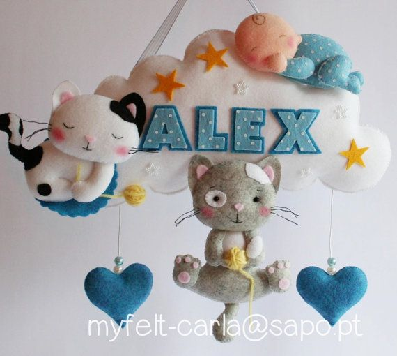 Baby Mobile Hanging Baby Mobile Cat Cloud by feltcutemobile