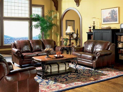 """3pc #Princeton Tri-Tone Leather Sofa Loveseat & Recliner Chair Set You will receive a total of 1 sofa, 1 loveseat and 1 recliner chair. Sofa Dimension: 83.5""""L 39..."""