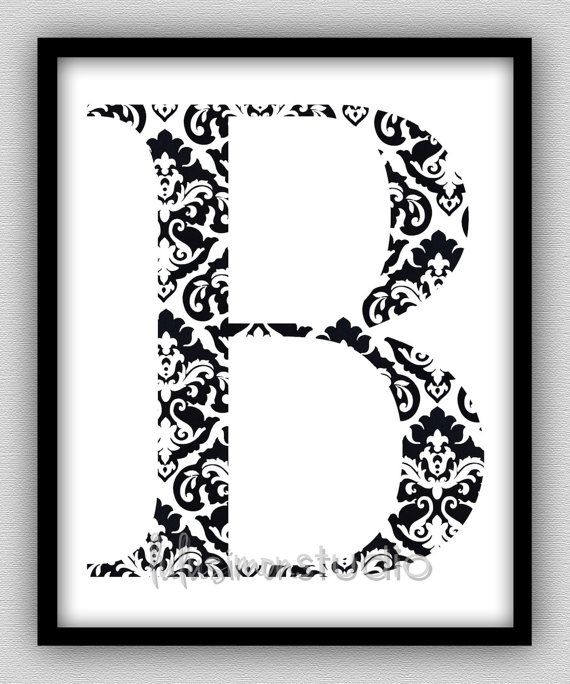 Wall Decor - Modern Home Decor - Initials Print - Initials Art - Monogram Print - Chevron Print - Custom Initial - Damask Art
