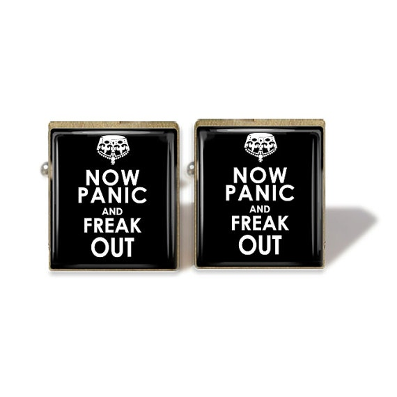 Scrabble Tile Cuff Links Now Panic And Freak Out by IncrediblyHip, $10.50
