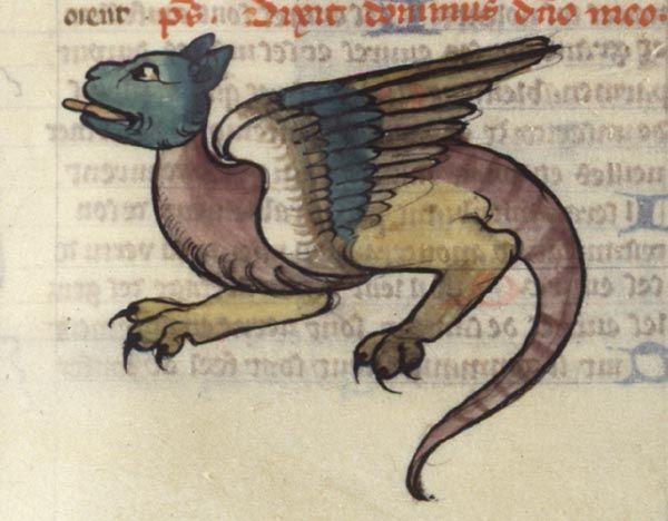 Décor marginal : dragon    Guiard des Moulins, Bible historiale  France, Paris, premier quart du XIVe siècle  Paris, BNF, département des Manuscrits, Français 160, fol. 239