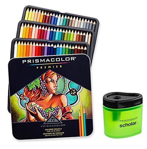Prismacolor Premier Soft Core Colored Pencil Set of 72 Assorted Colors (3599TN)  Prismacolor Scholar Colored Pencil Sharpener (1774266)