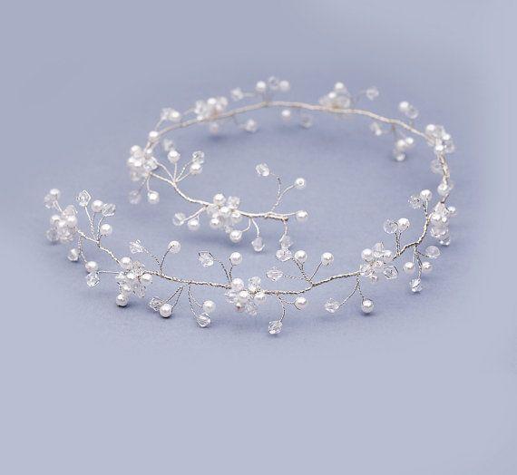 Pearl Crystal Hair Vine Formal Hair Vine by FloralHeadpiece