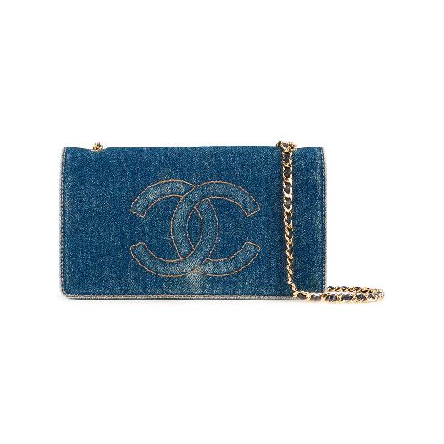 Blue denim cotton mini CC shoulder wallet from Chanel Vintage featuring a foldover top with snap closure, an embroidered logo to the front, an internal zipped pocket, an internal logo stamp, multiple card slots and a stonewashed effect. Please note that vintage items are not new and therefore might have minor imperfections. Size: OS. Color: Blue. Gender: Female. Pattern: Embroidered. Material: Cotton/Lamb Skin.