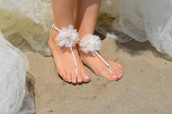White spring flowers beach wedding barefoot sandals by newgloves, $29.00