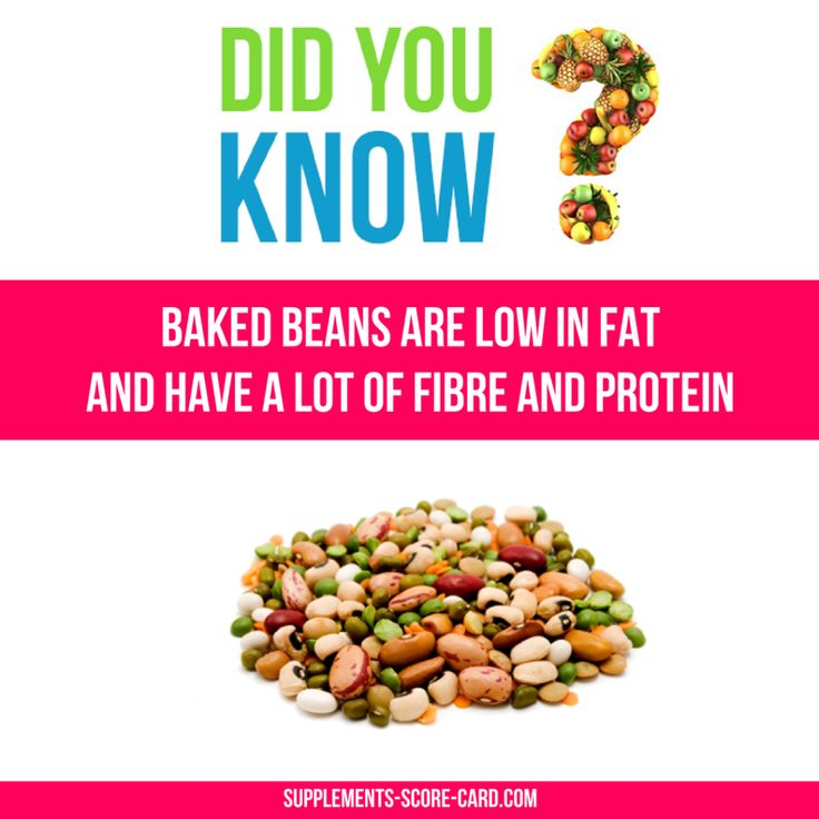 Baked beans are low in fat and have a lot of fibre and protein