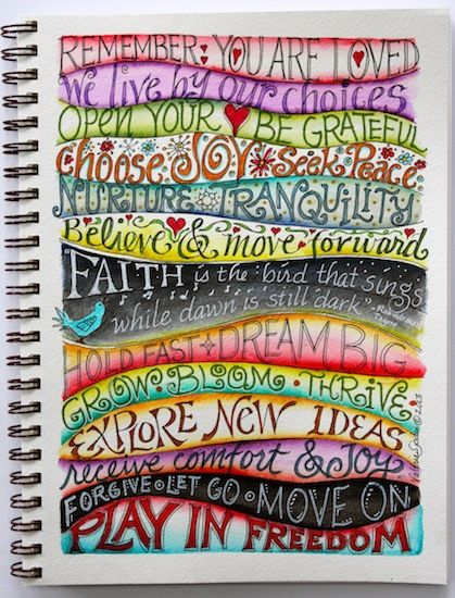 DIY:  Lettering examples for your journal or Smash Book.  Lots of creative ideas on this artist's blog - via Visual Blessings