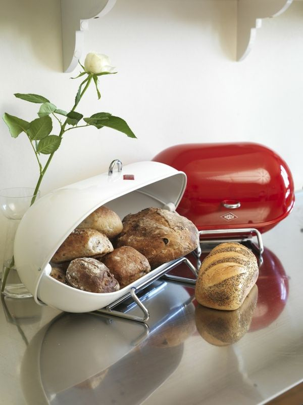 Wesco Breadboy, I love my white one. It's classic, stylish and elegant. Looks great in the kitchen and keeps the bread fresh.