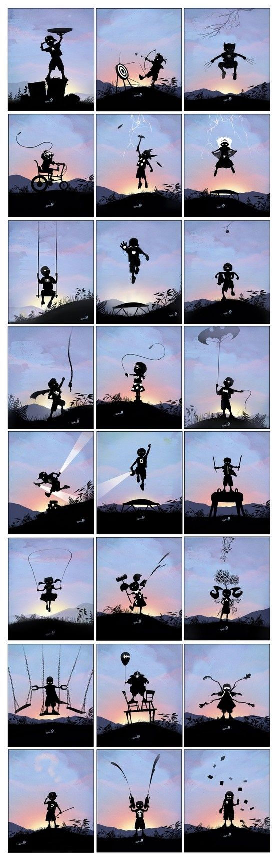 When I Grow Up I Want To Be... - Beautiful Silhouette / Noir style Illustrations by Andy Fairhurst (taken from andyfairhurst.deviantart.com) Super Hero shirts, Gadgets & Accessories, Leggings, 50%OFF. #marvel #gym #fitness #superhero #cosplay lovers