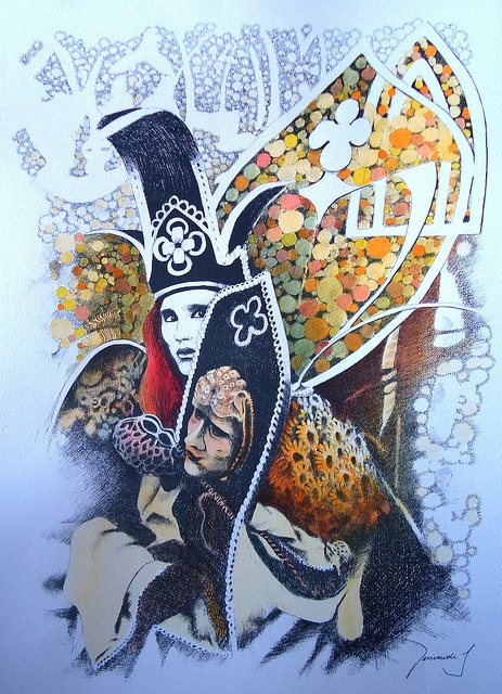 Ruiva em Veneza (repintura de Carnaval em Veneza) // Redhead in Venice (repainting of Carnival in Venice) // Watercolor on ink