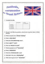 English Worksheets: Festivals, ceremonies in Great Britain